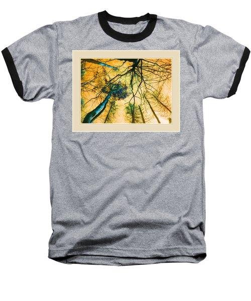 Orange Sky Tree Tops Baseball T-Shirt by Felipe Adan Lerma