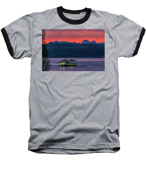 Orange Sky With Purple Sea Baseball T-Shirt
