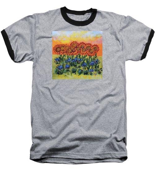 Orange Sunset Flowers Baseball T-Shirt