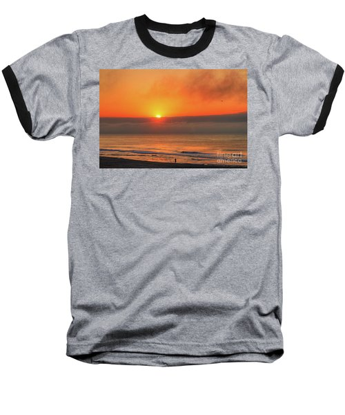Orange Sunrise On Long Beach Island Baseball T-Shirt