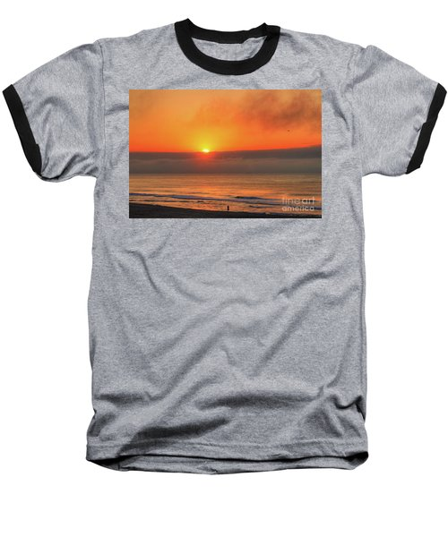 Orange Sunrise On Long Beach Island Baseball T-Shirt