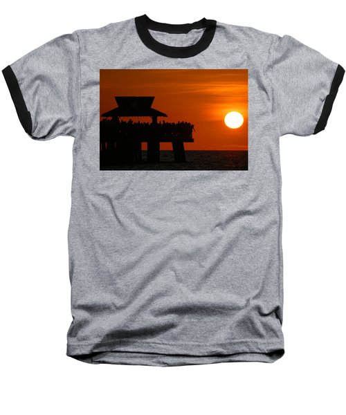 Orange Sunset In Naples Baseball T-Shirt