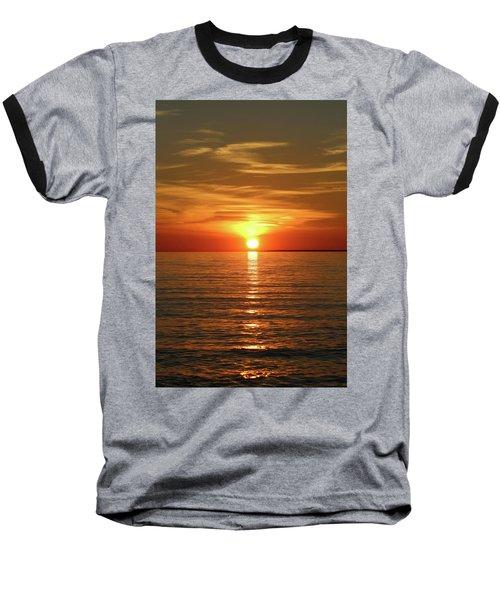 Orange Sunset Lake Superior Baseball T-Shirt by Paula Brown
