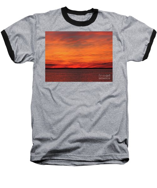 Orange Sunset On The New Jersey Shore Baseball T-Shirt
