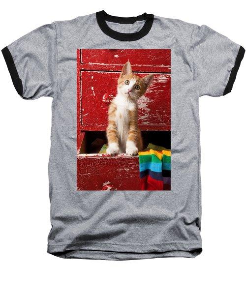 Orange Tabby Kitten In Red Drawer  Baseball T-Shirt by Garry Gay