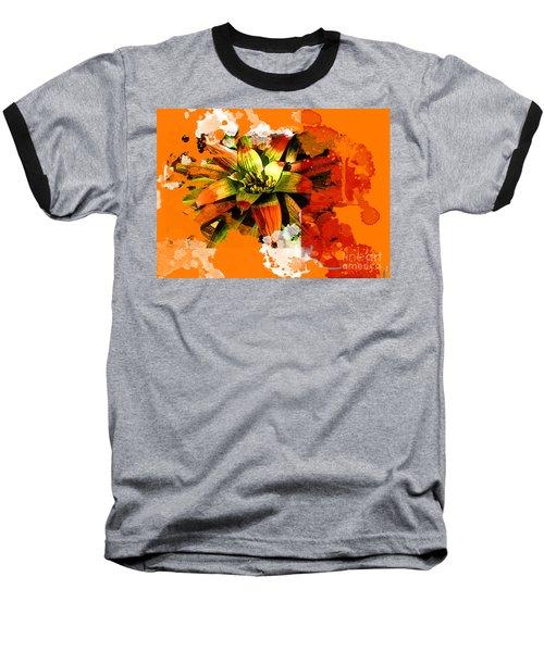 Orange Tropic Baseball T-Shirt by Deborah Nakano