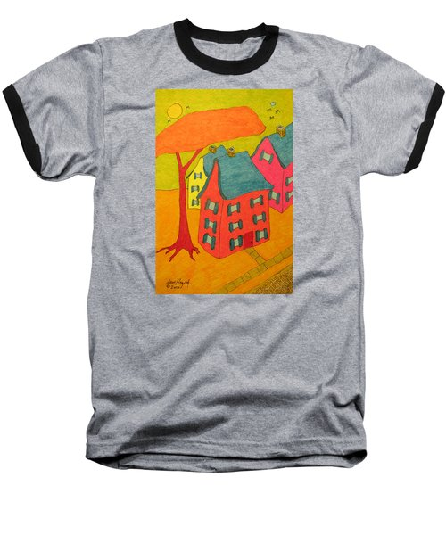 Orange Umbrella Tree And Three Homes Baseball T-Shirt