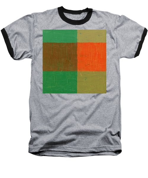 Orange With Brown And Teal Baseball T-Shirt by Michelle Calkins