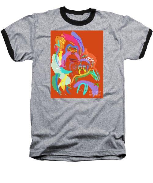Orangutan Mom And Baby Baseball T-Shirt