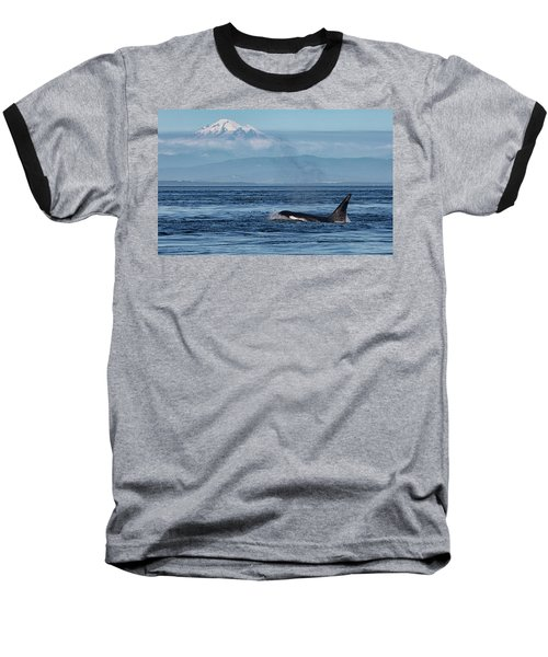 Orca Male With Mt Baker Baseball T-Shirt
