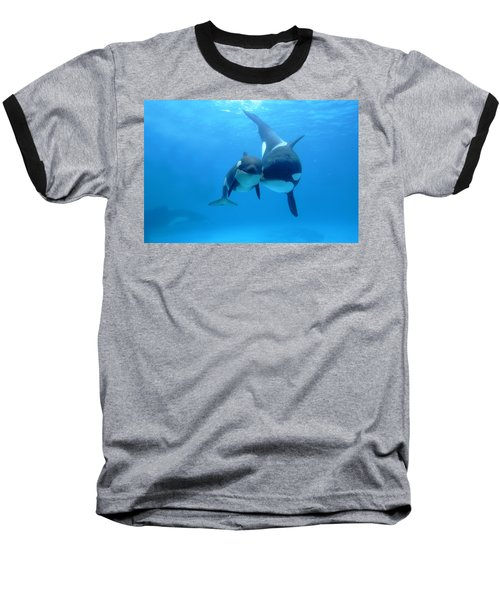 Orca Orcinus Orca Mother And Newborn Baseball T-Shirt
