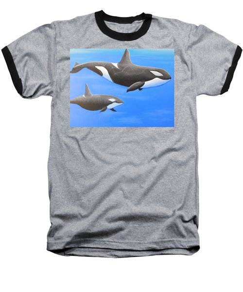 Orca With Baby Baseball T-Shirt
