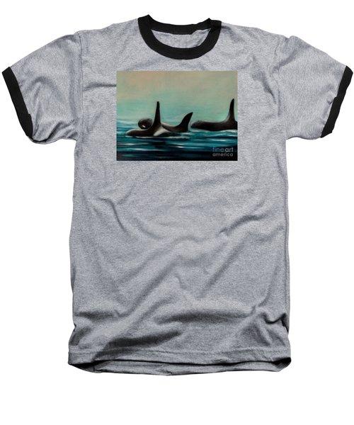 Baseball T-Shirt featuring the painting Orca's by Annemeet Hasidi- van der Leij