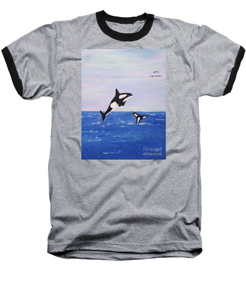 Orcas In The Morning Baseball T-Shirt