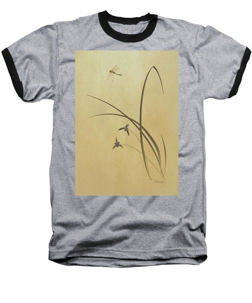 Orchid And Dragonfly Baseball T-Shirt