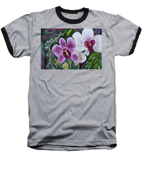 Baseball T-Shirt featuring the painting Orchid At Aos 2010 by Donna Walsh