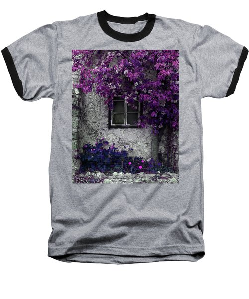 Orchid Vines Window And Gray Stone Baseball T-Shirt by Brooke T Ryan