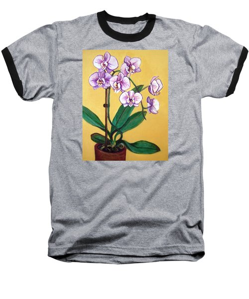 Baseball T-Shirt featuring the painting Orchids by Laura Aceto