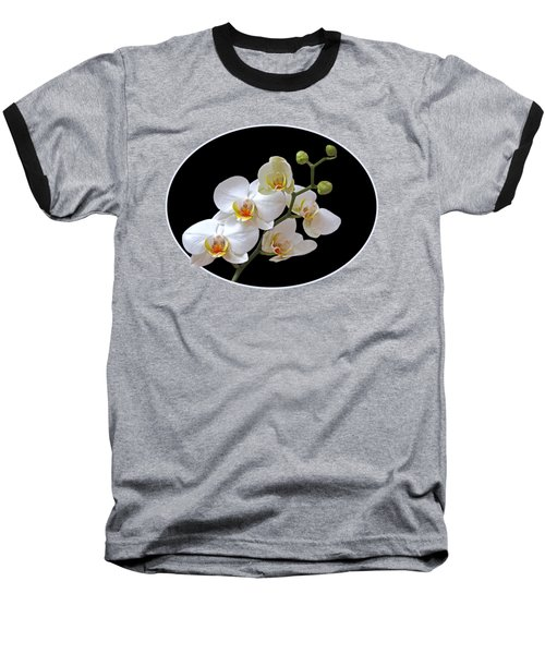 Orchids On Black And Orange Baseball T-Shirt by Gill Billington