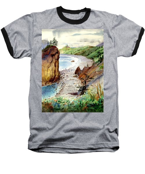 Baseball T-Shirt featuring the painting Oregon Coast #3 by John Norman Stewart