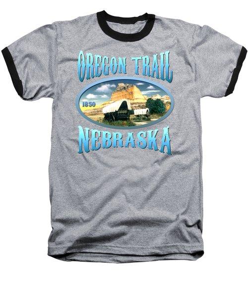 Oregon Trail Nebraska - Tshirt Design Baseball T-Shirt by Art America Gallery Peter Potter