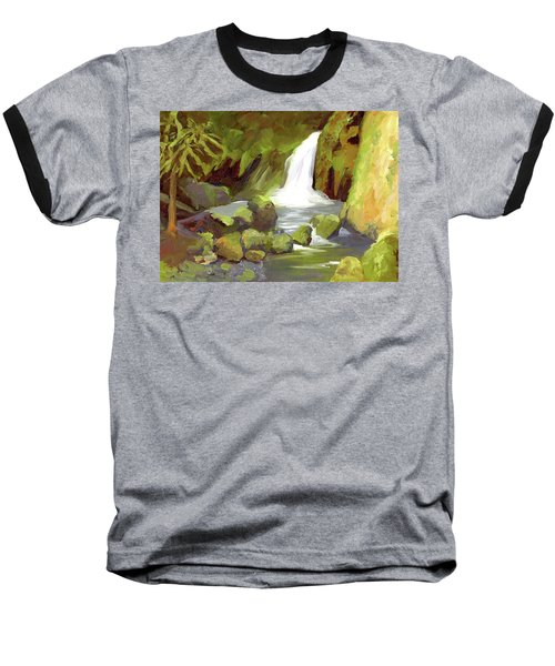 Oregon Waterfall Baseball T-Shirt by Alice Leggett