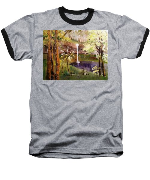 Oregon Waterfall Baseball T-Shirt by Larry Hamilton