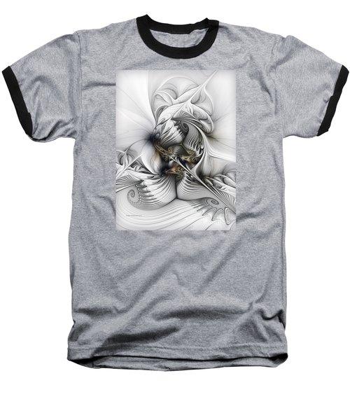 Baseball T-Shirt featuring the digital art Organic Spiral Tower Construction by Karin Kuhlmann