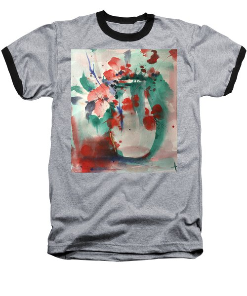Oriental Brush Flowers And Vase Baseball T-Shirt by Robin Miller-Bookhout