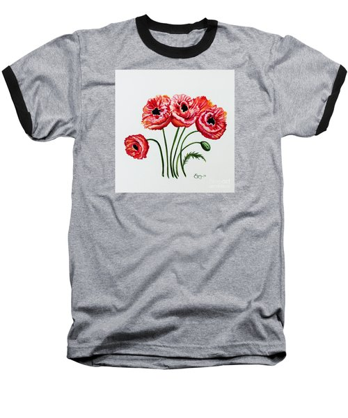 Oriental Poppies Baseball T-Shirt by Elizabeth Robinette Tyndall