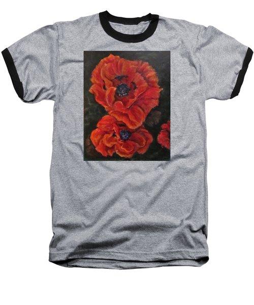 Oriental Poppys  Baseball T-Shirt by Barbara O'Toole