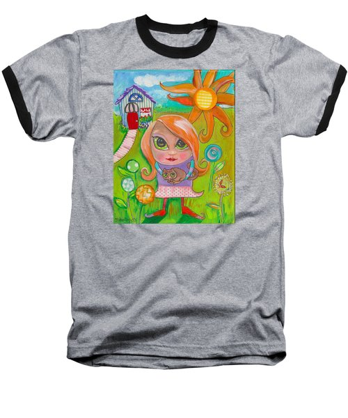 Original Art Girl And The Cat -with Flowers Baseball T-Shirt by Shelley Overton