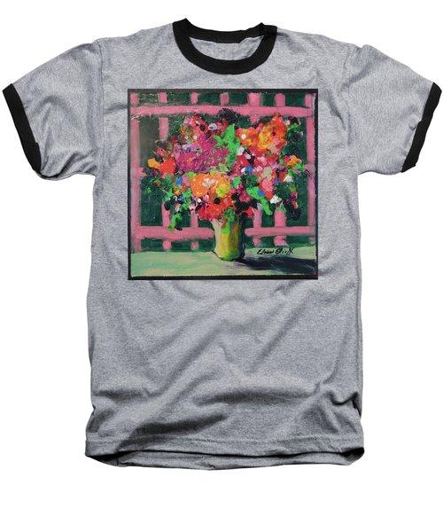 Original Bouquetaday Floral Painting By Elaine Elliott 59.00 Incl Shipping 12x12 On Canvas Baseball T-Shirt by Elaine Elliott