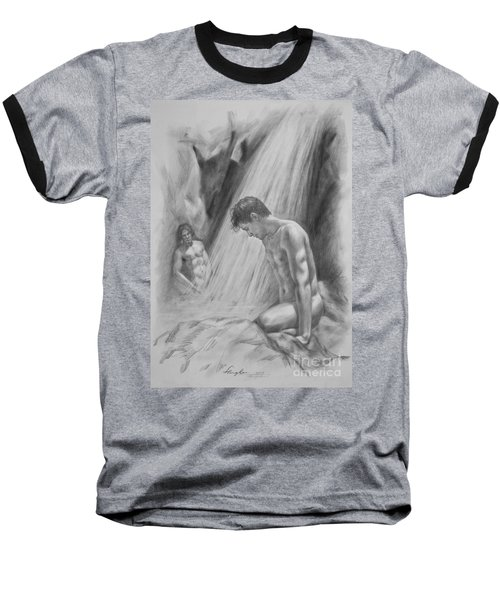 Original Charcoal Drawing Art Male Nude By Twaterfall On Paper #16-3-11-16 Baseball T-Shirt by Hongtao Huang