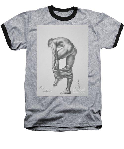 Original Drawing Sketch Charcoal Pencil Gay Interest Man Art  On Paper #11-17-14 Baseball T-Shirt by Hongtao     Huang