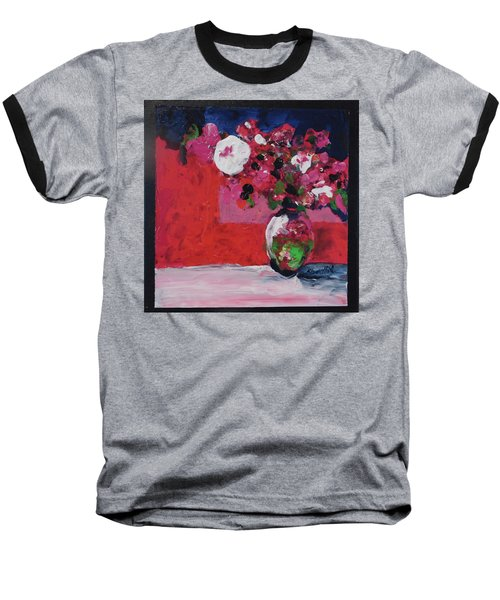 Original Floral Painting By Elaine Elliott, 12x12 Acrylic And Collage, 59.00 Incl. Shipping, Contemp Baseball T-Shirt by Elaine Elliott