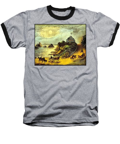 Original San Francisco Cliff House Circa 1865 Baseball T-Shirt by Peter Gumaer Ogden