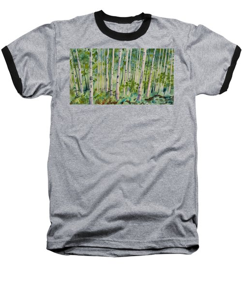 Original Watercolor - Summer Aspen Forest Baseball T-Shirt