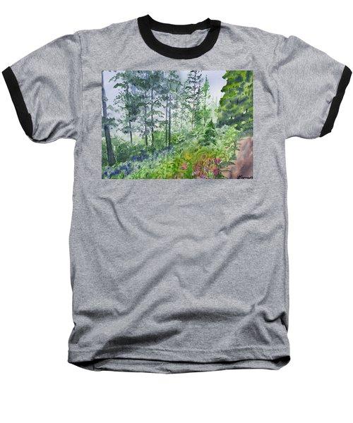 Original Watercolor - Summer Pine Forest Baseball T-Shirt