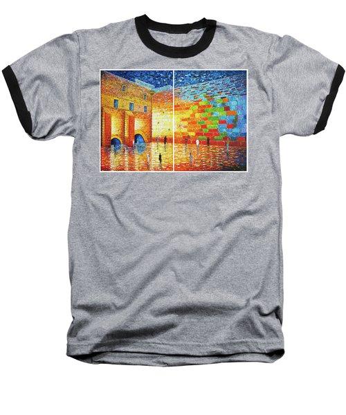 Baseball T-Shirt featuring the painting Original Western Wall Jerusalem Wailing Wall Acrylic 2 Panels by Georgeta Blanaru