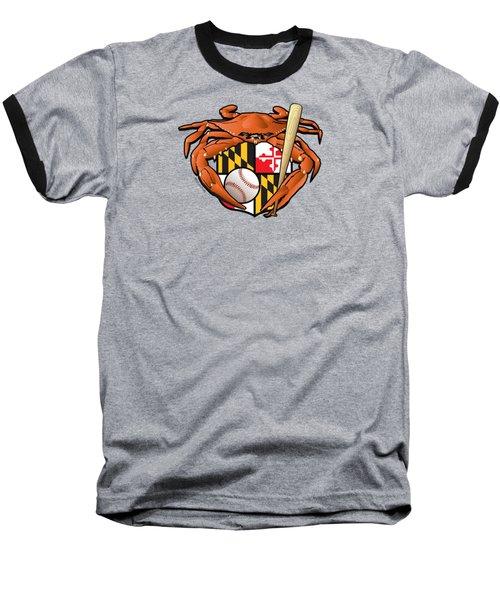 Oriole Baseball Crab Maryland Crest Baseball T-Shirt