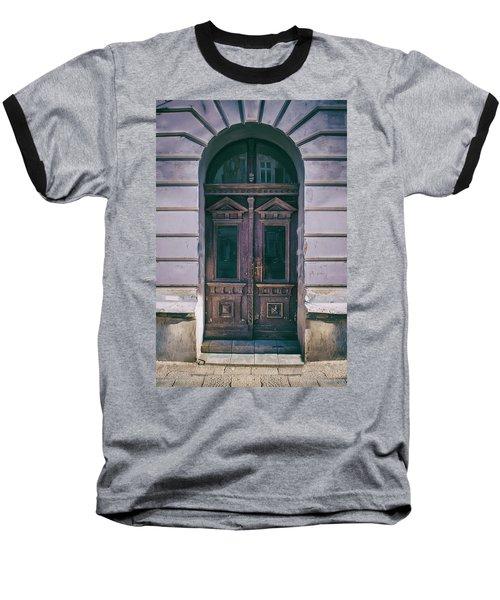 Ornamented Wooden Gate In Violet Tones Baseball T-Shirt by Jaroslaw Blaminsky
