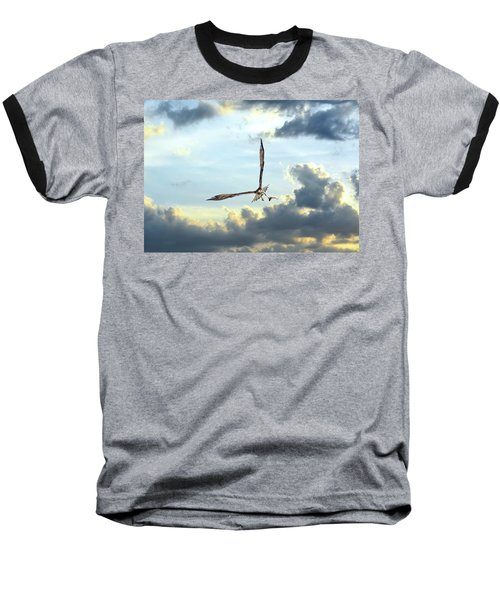 Osprey Flying In Clouds At Sunset With Fish In Talons Baseball T-Shirt