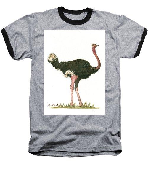 Ostrich Bird Baseball T-Shirt