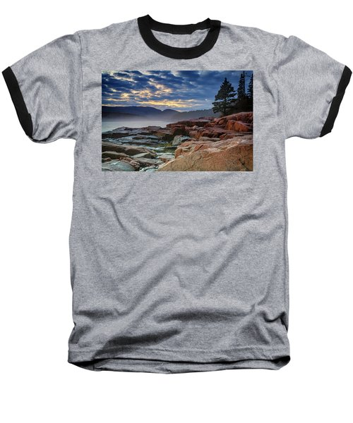 Otter Cove In The Mist Baseball T-Shirt by Rick Berk