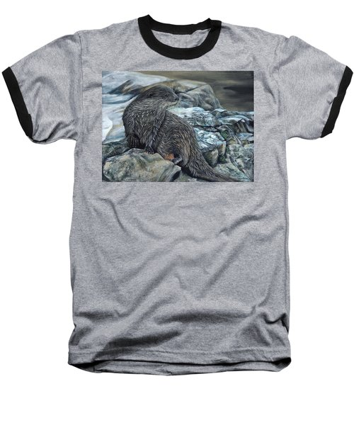 Otter On Rocks Baseball T-Shirt