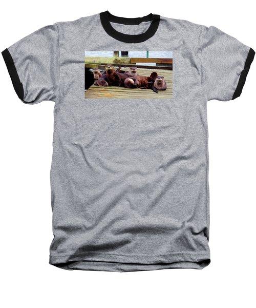 Otter Party Baseball T-Shirt by Karen Molenaar Terrell