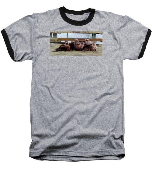 Otters Posing Baseball T-Shirt by Karen Molenaar Terrell
