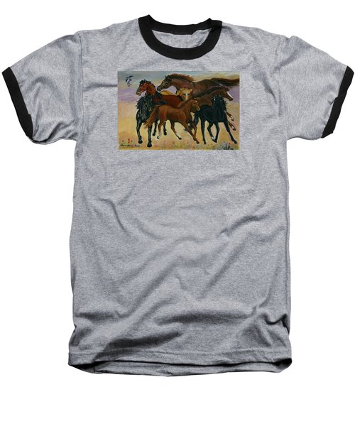 Baseball T-Shirt featuring the painting Our Horses by Dawn Senior-Trask