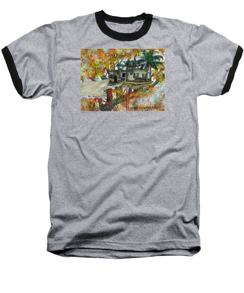 Baseball T-Shirt featuring the drawing Our Tree House by Jim Hubbard